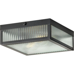 Dwyer Matte Black 11-Inch Two-Light Flush Mount with Clear Ribbed Shade