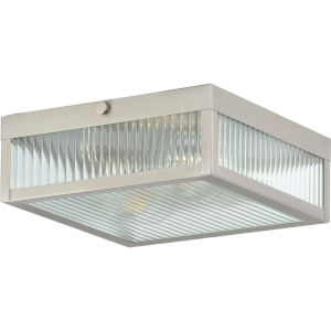 Dwyer Stainless Steel 11-Inch Two-Light Flush Mount with Clear Ribbed Shade