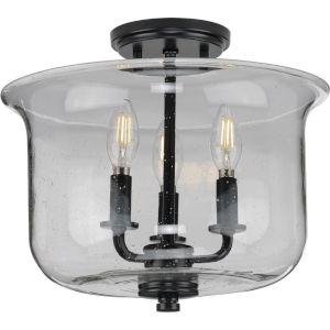 Winslett Matte Black 14-Inch Three-Light Semi-Flush Mount with Clear Seeded Shade