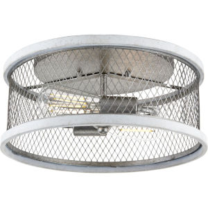 Austelle Galvanized Finish 14-Inch Two-Light Flush Mount with Mesh Shade