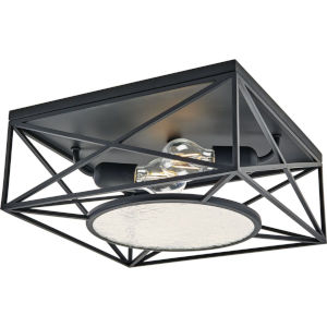 Cumberland Matte Black 13-Inch Two-Light Flush Mount with Clear seeded Shade
