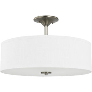 Inspire Brushed Nickel 18-Inch Three-Light Semi-Flush Mount with Summer Linen Shade