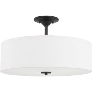 Inspire Graphite 18-Inch Three-Light Semi-Flush Mount with Summer Linen Shade