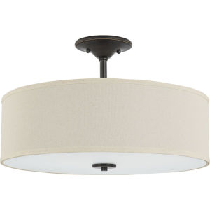 Inspire Antique Bronze 18-Inch Three-Light Semi-Flush Mount with Off White Linen Shade