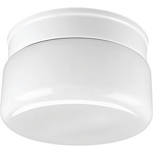 P3518-30: White Glass Two-Light Flush Mount