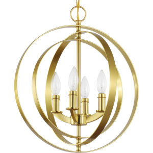 Equinox Satin Brass 16-Inch Four-Light Pendant