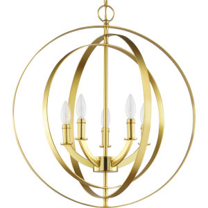 Equinox Satin Brass 22-Inch Five-Light Pendant