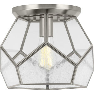 Cinq Brushed Nickel 12-Inch One-Light Flush Mount with Clear Shade