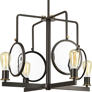 P400002-020: Looking Glass Antique Bronze Four-Light Chandelier with Clear Seeded Glass