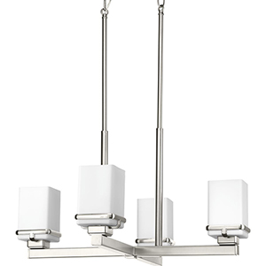 P400045-009: Metric Brushed Nickel Four-Light Chandelier with Etched Opal Glass