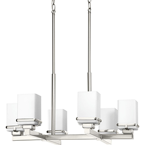 P400046-009: Metric Brushed Nickel Six-Light Chandelier with Etched Opal Glass