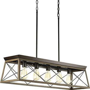 P400048-020: Briarwood Antique Bronze Five-Light Island Pendant
