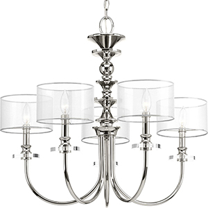 P400049-104: Marché Polished Nickel Five-Light Chandelier