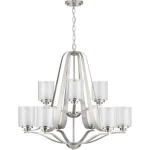 Kene Brushed Nickel 33-Inch Nine-Light Chandelier