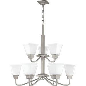 P400120-009: Clifton Heights Brushed Nickel Nine-Light Chandelier