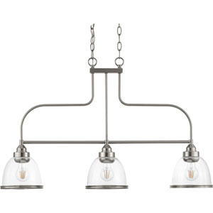 P400135-009: Saluda Brushed Nickel Three-Light Chandelier