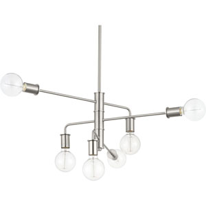 P400143-009: Calder Brushed Nickel Six-Light Chandelier