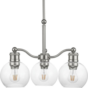 P400146-104: Hansford Polished Nickel Three-Light Chandelier