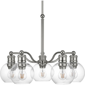 P400147-104: Hansford Polished Nickel Five-Light Chandelier
