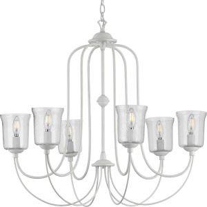 Bowman Cottage White 32-Inch Six-Light Chandelier