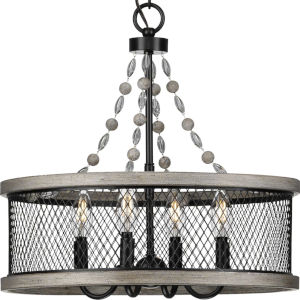 Austelle Antique Bronze 18-Inch Four-Light Chandelier