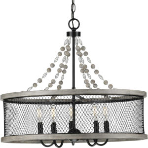 Austelle Antique Bronze 24-Inch Five-Light Chandelier