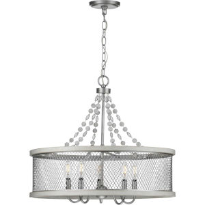 Austelle Galvanized 24-Inch Five-Light Chandelier