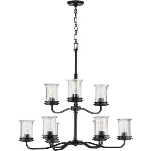 Winslett Black 34-Inch Nine-Light Chandelier
