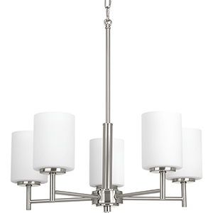 P4319-09: Replay Brushed Nickel Five-Light Chandelier with Etched Glass