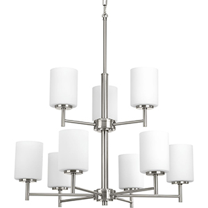 P4726-09: Replay Brushed Nickel Nine-Light Chandelier with Etched Glass