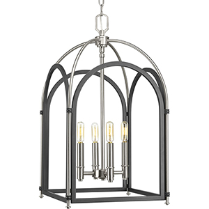P500039-143: Westfall Graphite and Brushed Nickel Four-Light Chandelier