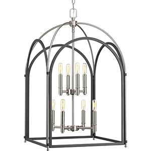 P500040-143: Westfall Graphite and Brushed Nickel Eight-Light Chandelier