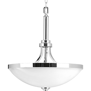 P500054-015: Topsail Polished Chrome Three-Light Pendant with Etched Parchment Glass