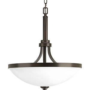 P500054-020: Topsail Antique Bronze Three-Light Pendant with Etched Parchment Glass
