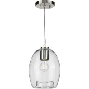 Caisson Brushed Nickel Eight-Inch One-Light Mini Pendant