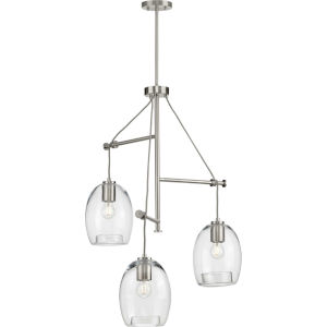 Caisson Brushed Nickel 30-Inch Three-Light Pendant