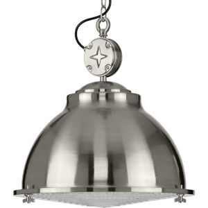 Medal Brushed Nickel 17-Inch One-Light Pendant