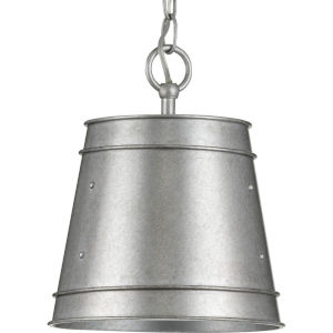 Galveston Galvanized Finish 10-Inch One-Light Outdoor Pendant with Clear Seeded Shade