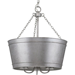 Galveston Galvanized Finish 18-Inch Three-Light Outdoor Pendant with Clear Seeded Shade