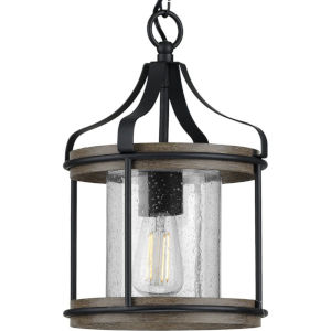 Brenham Matte Black 10-Inch One-Light Outdoor Pendant with Clear Seeded Shade