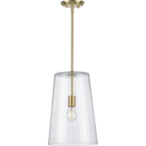 Clarion Satin Brass 11-Inch One-Light Pendant