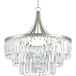 P5346-134: Glimmer Silver Ridge Six-Light Semi Flush Mount with Tea Stained Glass