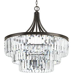 P5346-20: Glimmer Antique Bronze Six-Light Semi Flush Mount with Tea Stained Glass