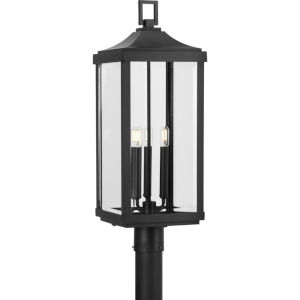 Gibbes Street Textured Black 10-Inch Three-Light Outdoor Post Mount with Clear Beveled Shade