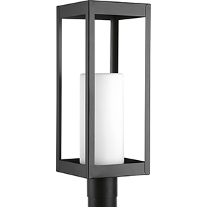 P540013-031: Patewood Black One-Light Outdoor Post Lantern with Etched Opal Glass