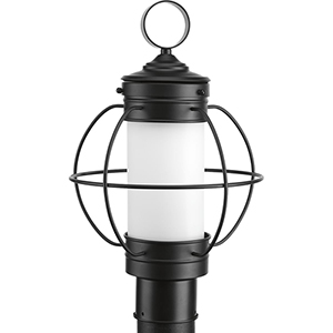 P540014-031: Haddon Black One-Light Outdoor Post Lantern with Etched Opal Glass