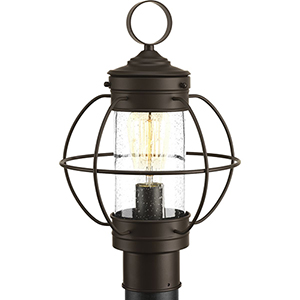 P540015-020: Haddon Antique Bronze One-Light Outdoor Post Lantern with Clear Seeded Glass