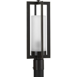 Janssen Oil Rubbed Bronze Eight-Inch One-Light Outdoor Post Mount with Etched Shade