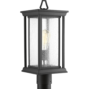 P5400-31: Endicott Black One-Light Outdoor Post Lantern with Clear Seeded Glass