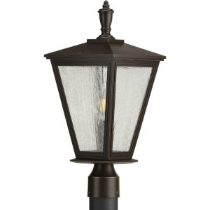 Cardiff Antique Bronze Nine-Inch One-Light Outdoor Post Mount with Clear Seeded Shade